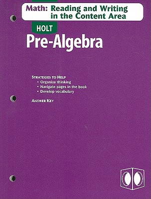 Image for Pre-algebra, Grades 6-8 Math-reading and Writing in the Content Area With Answer Key: Holt Pre-algebra