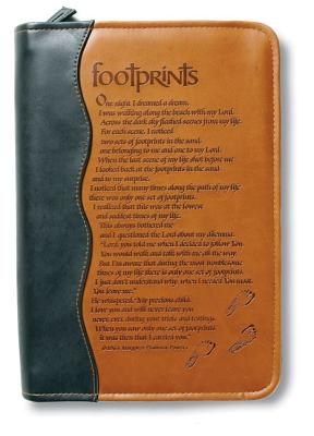 Image for 025986807962 Italian Duo-Tone Footprints Medium-Size Book/Bible Cover