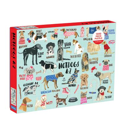 Image for Mudpuppy Hot Dogs A-Z Puzzle, 1,000 Piece Dog Jigsaw Puzzle, 27x20, Perfect for Ages 8-99+, Family Puzzle to Celebrate Dogs, Illustrations of 26 Dog Breeds, Great Gift for Dog Lovers