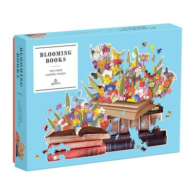 Image for Galison Blooming Books Shaped Jigsaw Puzzle, 750 Pieces, 28.3 x 21''  Flowers, Butterflies and Books  Die-Cut  Thick, Sturdy Pieces  Challenging and Fun  Fun Indoor Activity