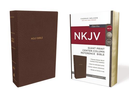Image for NKJV Ref Bible Center-Column GP LS Brown RL Comfort Print