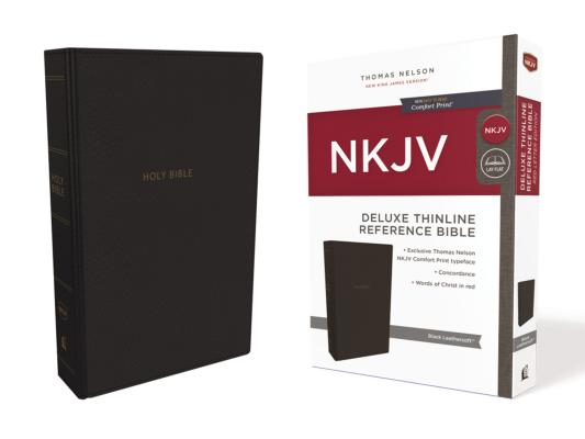 Image for NKJV Deluxe Thinline Ref Bible LS Black RL Comfort Print