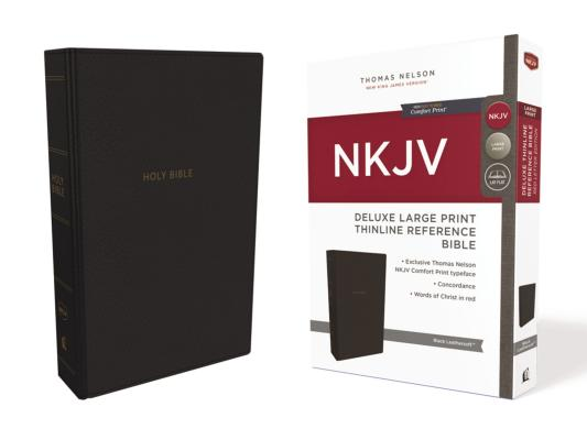 Image for NKJV, Deluxe Thinline Reference Bible, Large Print, Leathersoft, Black, Red Letter Edition, Comfort Print: Holy Bible, New King James Version