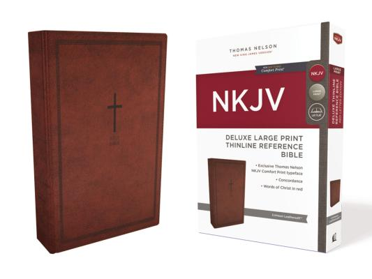 Image for NKJV Deluxe Thinline Ref Bible LP LS Red RL Comfort Print