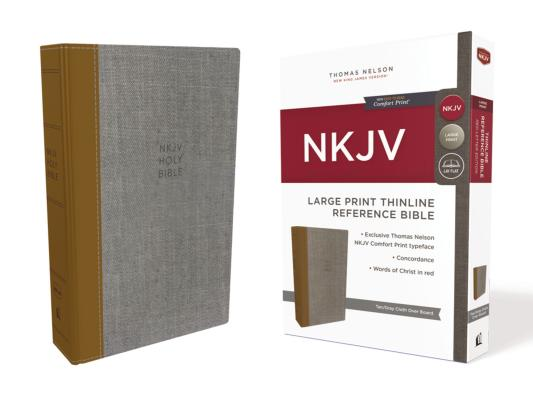 Image for NKJV Thinline Ref Bible LP Cloth over Board Tan/Gray RL Comfort Print