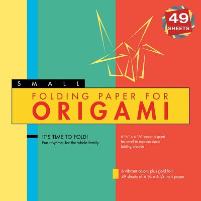 Small Folding Paper for Origami: 6 Colors Includes Gold Foil, 49 Sheets of 6 3/4 x 6 3/4 Inch Paper