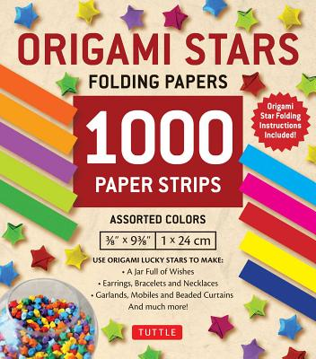 Image for Origami Stars Papers 1,000 Paper Strips in Assorted Colors: 10 colors - 1000 sheets - Easy Instructions for Origami Lucky Stars