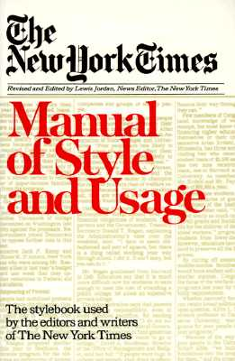 Image for NEW YORK TIMES MANUAL OF STYLE AND USAGE