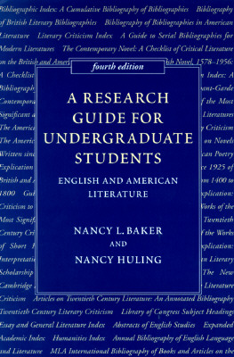 Image for A Research Guide for Undergraduate Students: English and American Literature