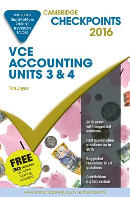 Image for Cambridge Checkpoints VCE Accounting Units 3&4 2016 and Quiz Me More