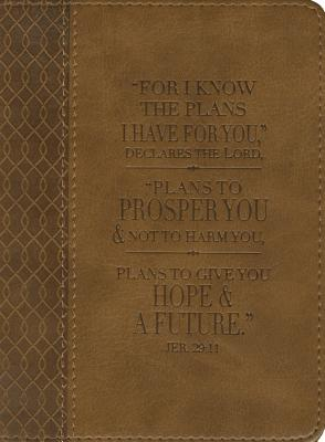Image for Christian Art Gifts Tan Faux Leather Journal | For I Know The Plans Jeremiah 29:11 Bible Verse | Handy-sized Flexcover Inspirational Notebook w/Ribbon 240 Lined Pages, Gilt Edges, 5.5 x 7 Inches