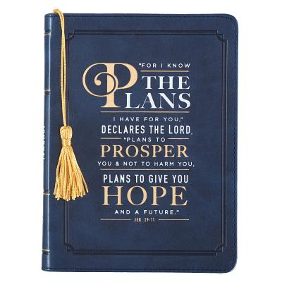 Image for JL267 Christian Art Gifts Navy Blue Faux Leather Journal w/Graduation Tassel | I Know The Plans Jeremiah 29:11 Bible Verse | Handy-sized Flexcover w/Tassel ... 240 Lined Pages, Gilt Edges, 5.5 x 7 Inches