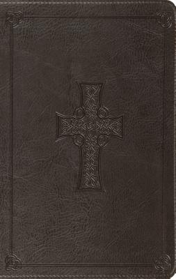 "Image for ""ESV Large Print Thinline Bible (TruTone, Charcoal, Celtic Cross Design), soft imitation leather"""