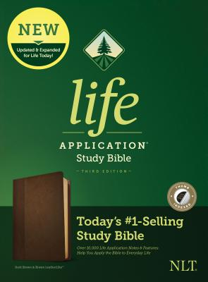 Image for Tyndale NLT Life Application Study Bible, Third Edition (LeatherLike, Dark Brown/Brown, Indexed) NLT Bible with Thumb Index, Updated Notes and Features, Full Text New Living Translation