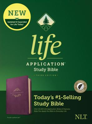 Image for Tyndale NLT Life Application Study Bible, Third Edition (LeatherLike, Purple, Indexed) NLT Bible with Thumb Index, Updated Notes and Features, Full Text New Living Translation Version