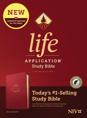 Image for Tyndale NIV Life Application Study Bible, Third Edition (LeatherLike, Berry, Indexed) NIV Bible with Thumb Index, Updated Notes and Features, Full Text New International Version