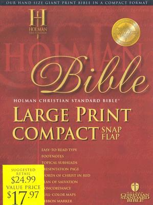 Holy Bible: Holman Christian Standard Bible, Blue, Bonded Leather Bible Snap, Large Print Compact
