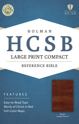 Image for HCSB Large Print Compact Bible, Brown LeatherTouch