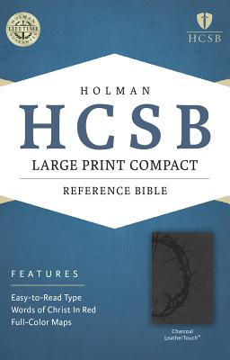 Image for HCSB Large Print Compact Bible, Charcoal LeatherTouch