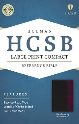 Image for HCSB Large Print Compact Bible, Black/Burgundy LeatherTouch