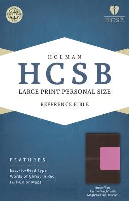Image for HCSB Large Print Personal Size Bible, Pink/Brown LeatherTouch with Magnetic Flap Indexed