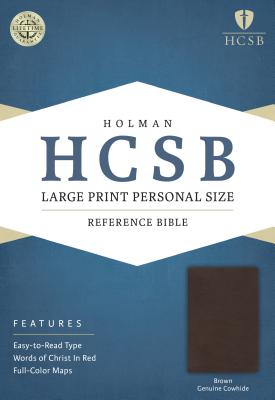 Image for HCSB Large Print Personal Size Bible, Brown Genuine Cowhide