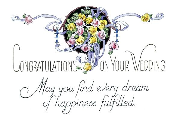 May You Find Every Dream of Happiness Fulfilled - Vintage Wedding Card